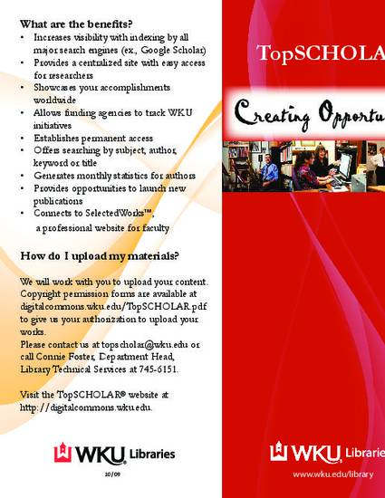 TopSCHOLAR Creating Opportunities By Connie Foster