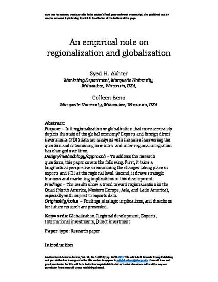 An Empirical Note on Regionalization and Globalization