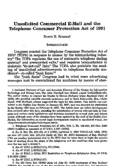 Unsolicited Commercial E Mail And The Telephone Consumer Protection Act Of 1991 By David Sorkin