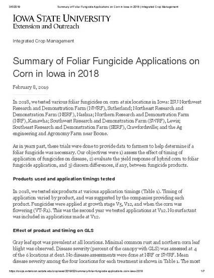 Summary of Foliar Fungicide Applications on Corn in Iowa in