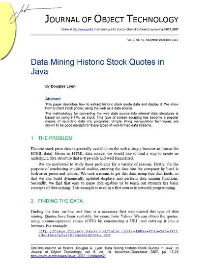 Data Mining Historic Stock Quotes in Java