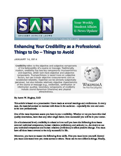 quot enhancing your credibility as a professional things to