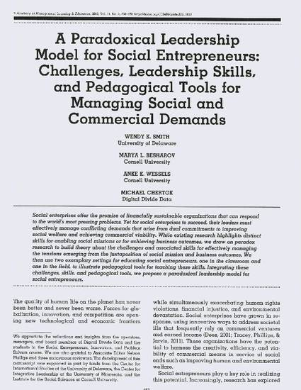 A Paradoxical Leadership Model For Social Entrepreneurs Challenges Skills And Pedagogical Tools Managing Commercial Demands