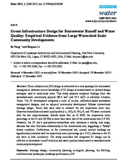 Green infrastructure design for stormwater runoff and water