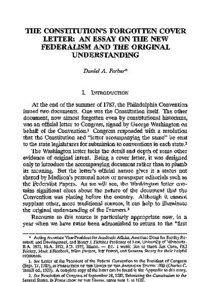 The Constitutions Forgotten Cover Letter An Essay On The New  The Constitutions Forgotten Cover Letter An Essay On The New Federalism  And The Original Understanding By Daniel A Farber