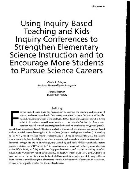 Using Inquiry Based Teaching And Kids Inquiry Conferences To