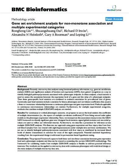 Gene set enrichment analysis for non-monotone association