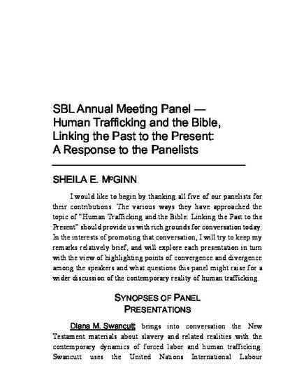 SBL Annual Meeting Panel — Human Trafficking and the Bible
