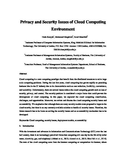 Privacy And Security Issues Of Cloud Computing Environment By Huda Karajeh