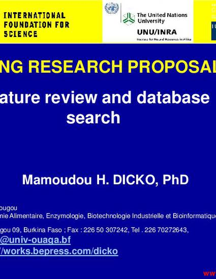 writing research proposal literature review and database search