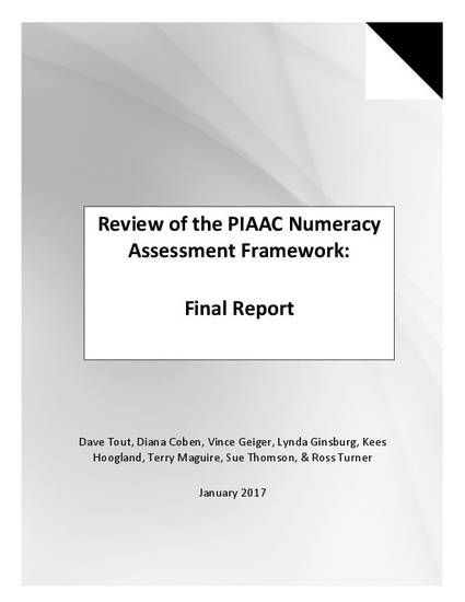 Review of the PIAAC Numeracy Assessment Framework: Final