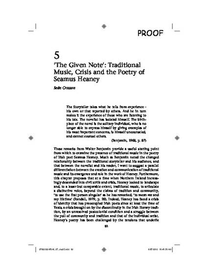 The Given Note Traditional Music Crisis And The Poetry Of
