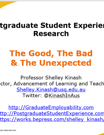 postgraduate student experience good bad unexpected kinash 2017 pptx