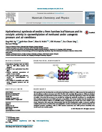 Hydrothermal Synthesis of Zeolite A from Bamboo Leaf Biomass