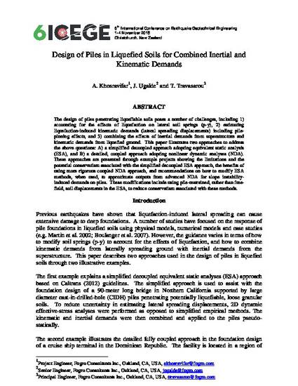 Design of Piles in Liquefied Soils for Combined Inertial and