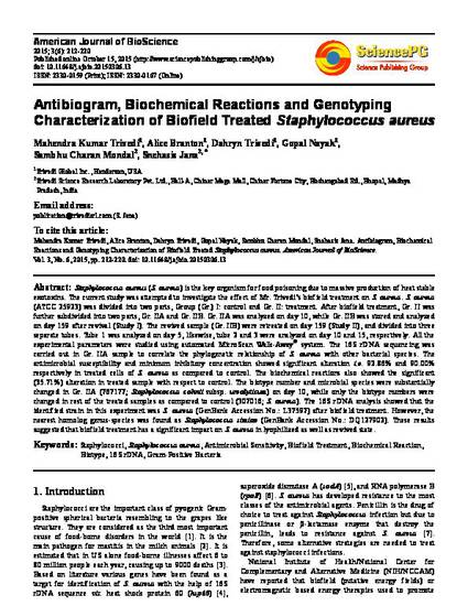 Antibiogram, Biochemical Reactions and Genotyping Characterization