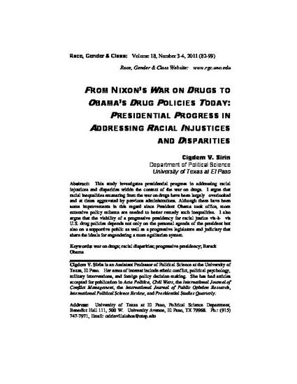 From Nixons War On Drugs To Obamas Drug Policies Today Presidential Progress In Addressing Racial Injustices And Disparities By Cigdem V Sirin
