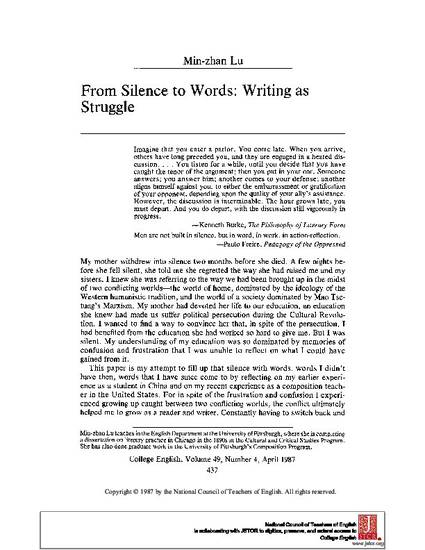 from silence to words writing as struggle