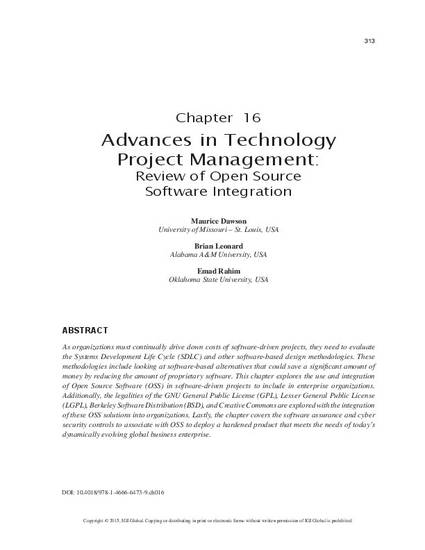 Advances In Technology Project Management Review Of Open Source Software Integration By Maurice Dawson