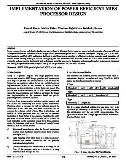 Implementation of Power Efficient MIPS Processor Design