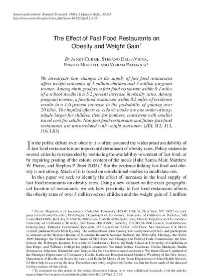 The effect of fast food restaurants on obesity and weight