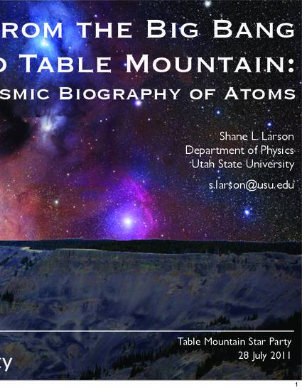 From The Big Bang To Table Mountain The Cosmic Biography Of