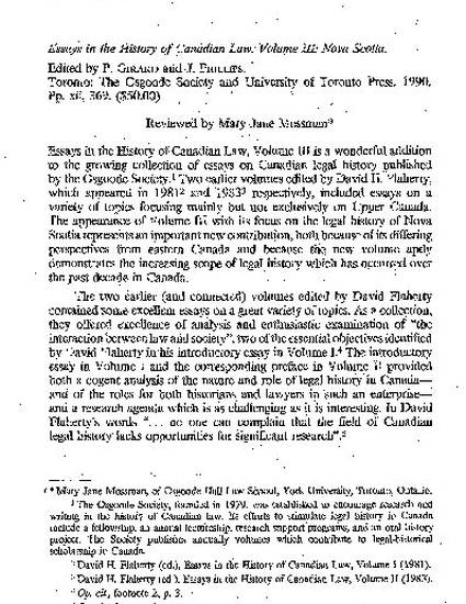 Essay Examples High School Book Review Essays In The History Of Canadian Law Volume Iii Nova  Scotia Edited By P Girard And J Phillips By Mary Jane Mossman Argumentative Essay Thesis Statement Examples also Environmental Science Essays Book Review Essays In The History Of Canadian Law Volume Iii Nova  Science Technology Essay