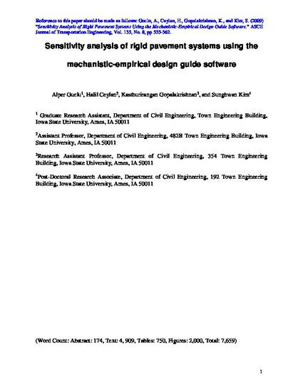 Sensitivity Analysis Of Rigid Pavement Systems Using The Mechanistic Empirical Design Guide Software By Alper Guclu