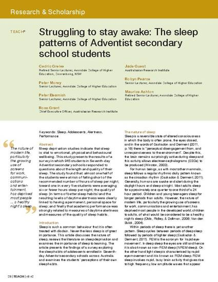 Struggling To Stay Awake The Sleep Patterns Of Adventist Secondary School Students By Cedric Greive