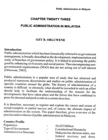 Public Administration In Malaysia By Ozy B Orluwene Jp