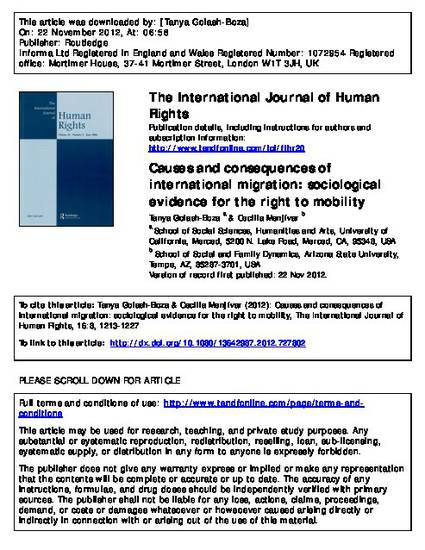 causes and consequences of international migration sociological