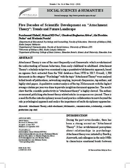 "Five Decades of Scientific Development on ""Attachment Theory"