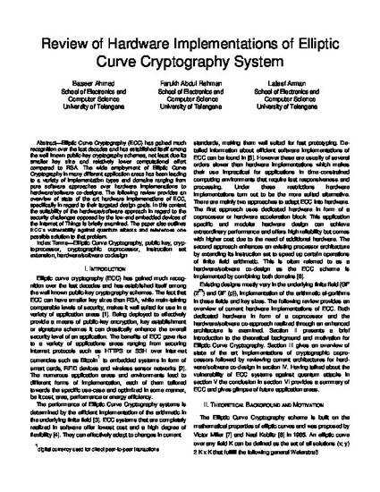 Review of Hardware Implementations of Elliptic Curve Cryptography