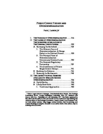 Public Choice Theory And Overcriminalization By Paul J Larkin Jr