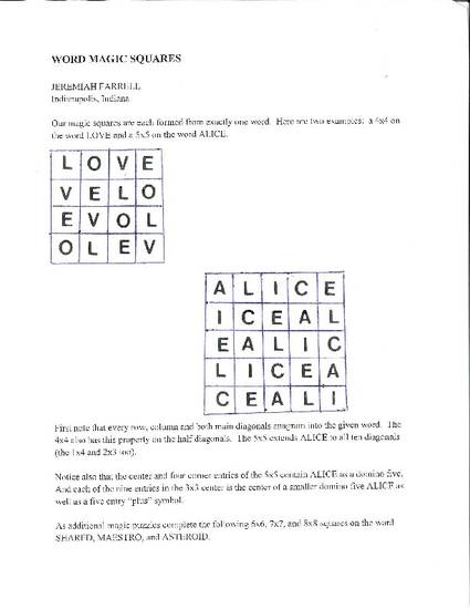 Word Magic Squares