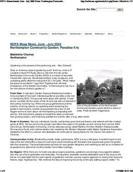 """Northampton Community Garden: Paradise It Is"" by Madeleine K. Charney"