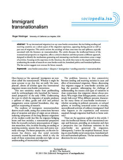 First Day Of High School Essay Immigrant Transnationalism By Roger D Waldinger Immigrant Transnationalism  By Roger D Waldinger Essays On High School also Obesity Essay Thesis Immigrant Essay Immigrant Transnationalism By Roger D Waldinger Hon  Thesis Support Essay