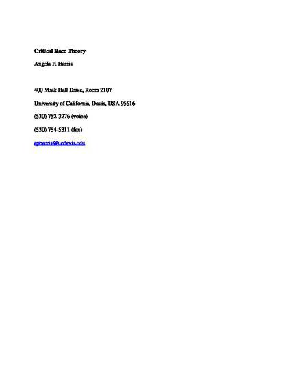 critical race theory by angela p harris