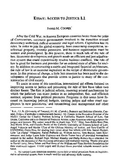 essay access to justice by james m cooper  essay access to justice 1 1 by james m cooper