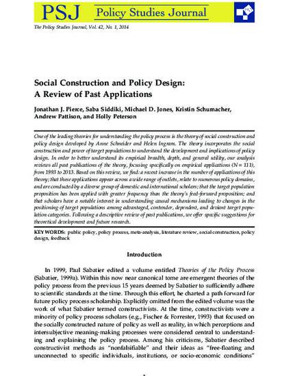 Social Construction And Policy Design A Review Of Past Applications By Jonathan J Pierce