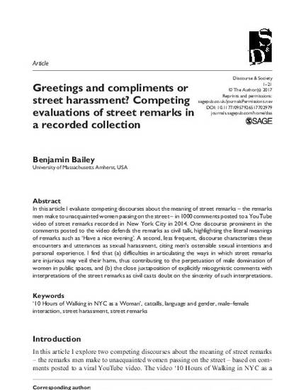 Greetings and compliments or street harassment: Competing