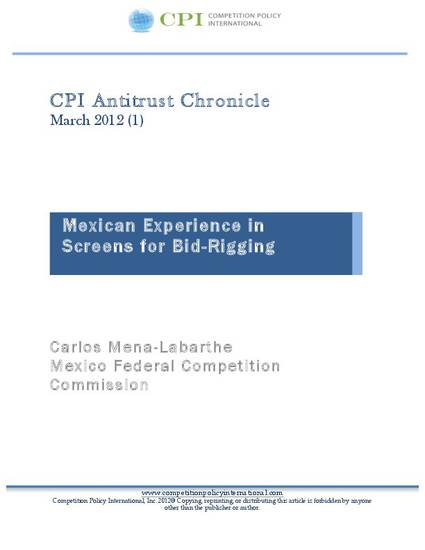 Mexican Experience In Screens For Bid Rigging By Carlos Mena Labarthe