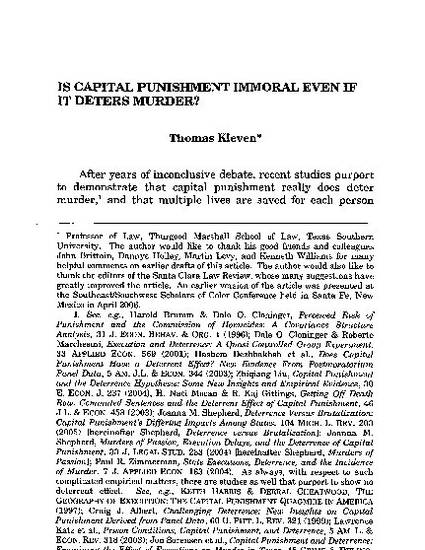 is capital punishment a deterrent murder Arguments against capital punishment capital punishment did act as a deterrent capital punishment is allowed in 2010, the murder rate in.