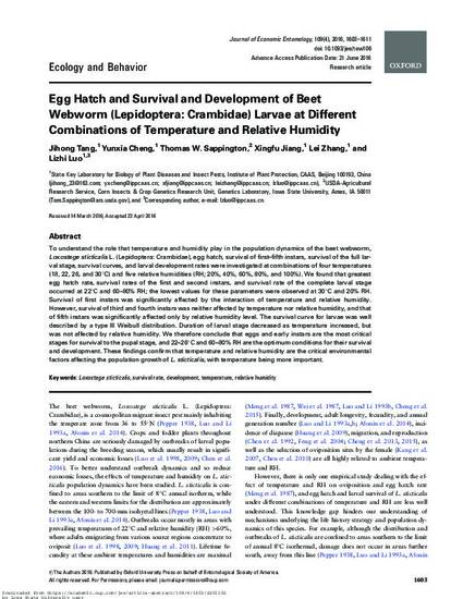 Egg Hatch and Survival and Development of Beet Webworm