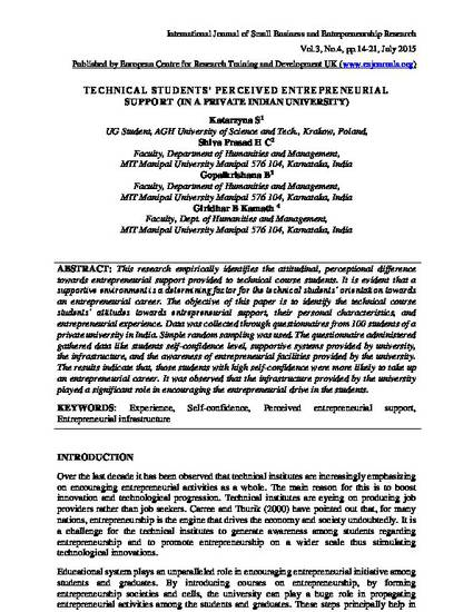 Technical Students' Perceived Entrepreneurial Support (In a Private