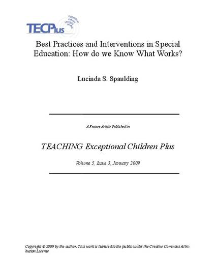 Special Education Best Practices And >> Best Practices And Interventions In Special Education How