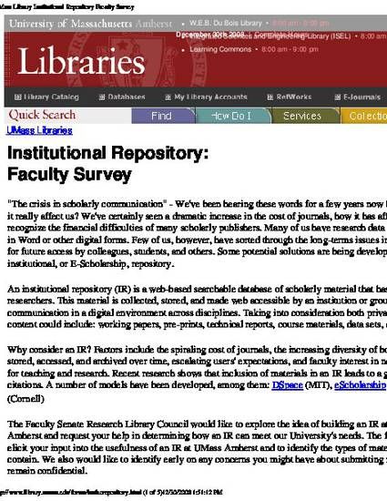 Faculty Survey: Institutional Repositories