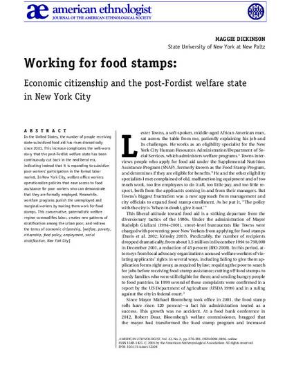 Working For Food Stamps Economic Citizenship And The Post Fordist
