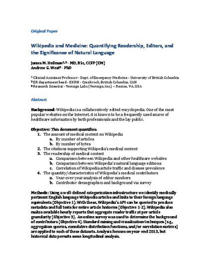 Wikipedia and Medicine: Quantifying Readership, Editors, and the