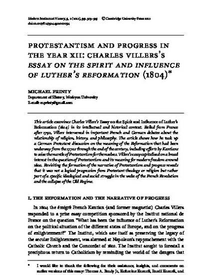 Assignment Helper In Kl Protestantism And Progress In The Year Xii Charles Villers Essay On The  Spirit And Influence Of Luthers Reformation  By Michael Printy Argumentative Essay Examples High School also Will Pay Someone To Do My Assignment Protestantism And Progress In The Year Xii Charles Villers Essay  Good Research Websites